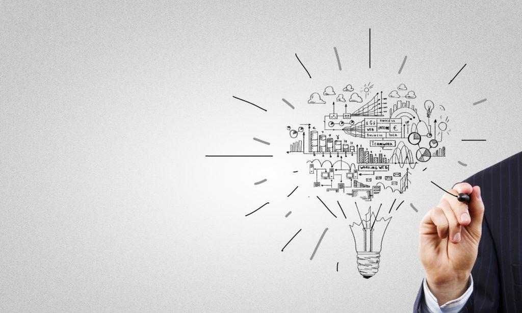 Dessin d'une ampoule représentant l'entrepreneuriat et l'expression des talents